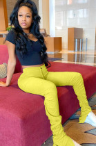 Yellow Elastic Self-tied Ruched Detail Pants KDN1158