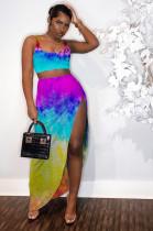 Blue Tied-dye Crop Tanktop & Side Split Skirt Sets LYY9243