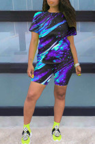 Purple Blue Multi Casual Polyester Tie Dye Short Sleeve Round Neck Tee Top Shorts Sets OX8059