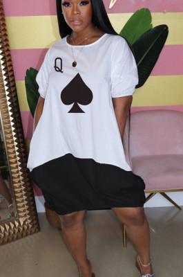 White Casual Polyester Letter Short Sleeve Round Neck High Waist Long Dress AL111