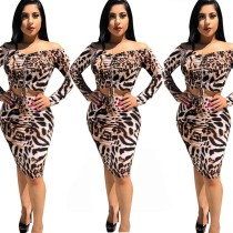 Leopard Print Suits Strapless Pleated Top Bodycon Midi Skirt E8139