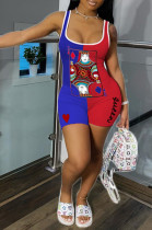 Blue Red Casual Polyester Sleeveless Bodycon Jumpsuit CY1241