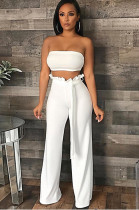 White Sollid Color Bandeau Top & Mid-rised Sherred Waist Wide Leg Pants BN9808