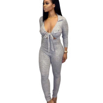 Gray Autumn Slim Bodycon Low-Cut Solid Color Tied Jumpsuit BS1149