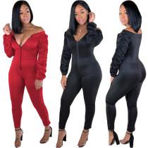 Pure Color Zipper Slim Jumpsuits OG9093