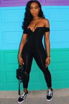 Black Sexy Polyester Sleeveless V Neck Tube Jumpsuit CY1049