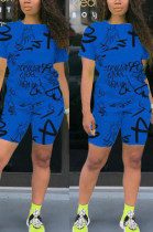 Blue Casual Polyester Letter Short Sleeve Round Neck Tee Top Shorts Sets OEP6198