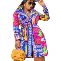 New Style Colorful Printed Button Down Autumn Dress With Belt QQM3889