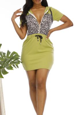 Green Casual Leopard Short Sleeve Waist Tie Shift Dress N9201