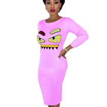 Pink Eyes Pattern print Skiny Midi Dress BS1156