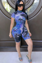 Blue Casual Tie Dye Short Sleeve Round Neck Romper CM750