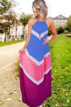 Blue Strapless Back Eyehole Opened Loose Long Dress JLX7001