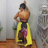 Yellow Wholesale Online Red/Yellow Women Pleated Skirt QQM3799