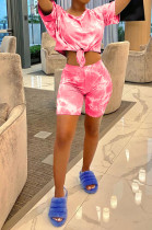Pink Casual Polyester Tie Dye Short Sleeve Round Neck Tie Front Tee Top Shorts Sets JC7019