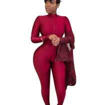 WIne Red High Neck Long Sleeve Jumpsuit Solid Color Bodycon Jumpsuit QQM3384