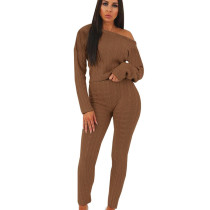 Coffee Women's Clothing Wholesale Sweaters Pure Color Winter Set QQM3583