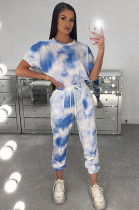 Blue Sporty Tie Dye Short Sleeve Round Neck Drawstring Waist Tee Top Harem/Genie Pants Sets AMM8240