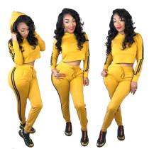 Yellow Two Pieces Sets Crop Hoodie Tops Skinny Pants KK8023