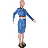 Blue Leopard Print Crop Jackets Midi Skirts Sets ARM8218