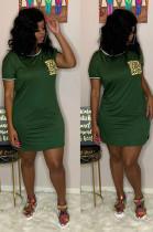 Green Casual Polyester Leopard Short Sleeve Round Neck Split Hem Shift Dress RB3071