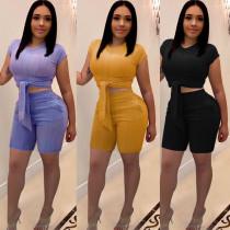 Hot Sale Bodycon Summer Pure Color Shorts Suits K8725