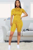 Mustard Yellow Flexible High neck Short Sets Q509