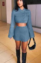 Light Blue Casual Polyester Long Sleeve Utility Blouse Above Knee / Short Skirt Sets GL6285