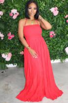 Red Casual Polyester Sleeveless Backless Frill Trim High Waist A Line Dress AL105
