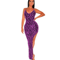 Purple High Split Irregular Clubwear Sexy Condole Belt Shiny Dress ZS0251