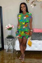 Green Comic Figures Random Print Ruffles Hem Mini Dress LML098