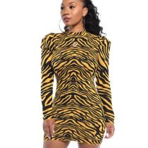 Brown Fashionable Bodycon Round Collar Irregular Striped Wrap Dress WY6617
