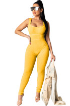 Yellow Square Neck Strapped Bodycon Jumpsuit TRS1007