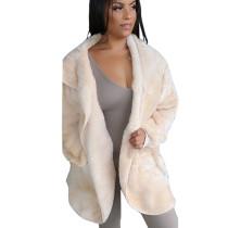 White Cardigan Winter Long Sleeve Velvet Coat With Pocket A8509