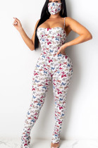 White Casual Polyester Animal Graphic Sleeveless All Over Print Cami Jumpsuit YSH6158