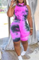 Purple Casual Polyester Tie Dye Sleeveless Tank Top Shorts Sets LYY9251