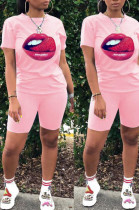 Pink Casual Polyester Mouth Graphic Short Sleeve Round Neck Tee Top Shorts Sets FA7098