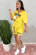Yellow Casual Polyester Mouth Graphic Short Sleeve Tee Top Shorts Sets RB3063