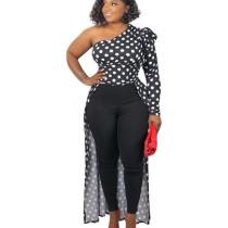 Black Irregular Leisure Oblique Shoulder Polka Dot Women Long Top W8241