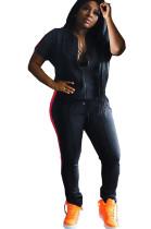 Black Solid Color Side Stripes Front Zip-up Blouse & Skinny Pants Sporty Sets DN8367