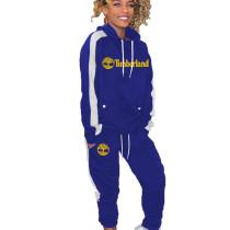 Royal Blue Long Sleeve Hooded T Shirt Elastic Waist Pants Fashion Tracksuits HG5298
