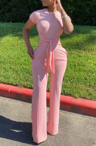 Pink Casual Polyester Short Sleeve Round Neck Tie Front Tee Jumpsuit N9213