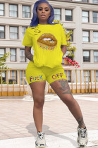 Yellow Solid Color Mouth Graphic Print & Short Pants Set HY5141