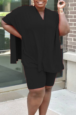 Black Casual Polyester Batwing Sleeve V Neck Tee Jag Top Shorts Sets MR2047