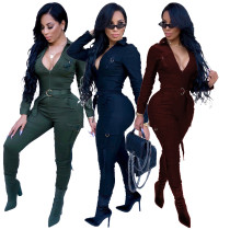 Sexy Deep V Neck Solid Jumpsuits With Belts SMR9060