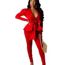 Red Female Plain Color Business Sets V Neck Ruffle Top Skinny Pants CM639