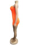 Orange Off Shoulder Zip-up Romper Jumpusit CYF3259
