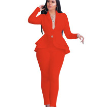 Orange Elegant Bodycon Women Uniform Casual Pure Color Ruffle Suits CM610