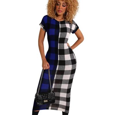 Blue Leisure Short Sleeve Contrast Color Plaid Ankle Length Dress WMZ2526