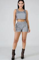 Gray Crop Top & Shirred Detail Pants Set JH142