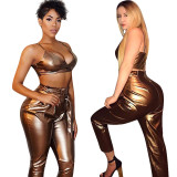 Black Solid Strappy Crop Tops High Waist Pants Sets F8192